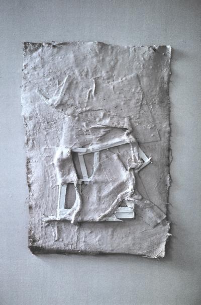 holz, gips, jute und acryl, 120/ 80/ 5 cm,1997