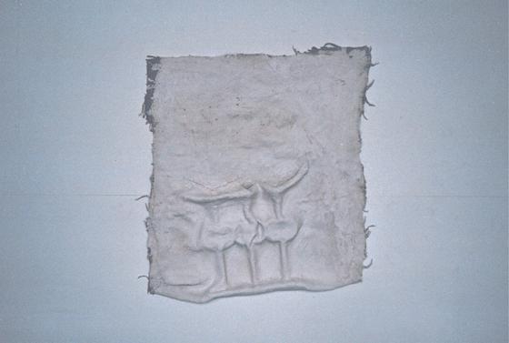 jute, eisen und gips, 70/ 90/ 8 cm, 1996