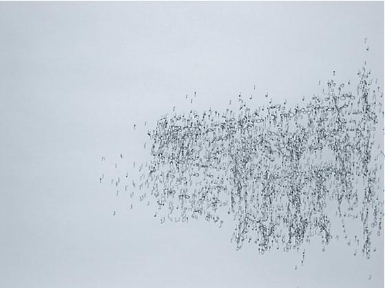 tusche auf transparentpapier und holz, 160/ 70/ 5 cm, 2002