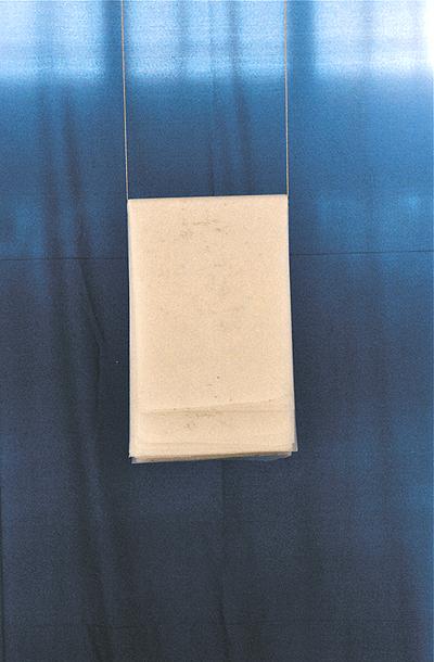 stoff, pappe, kordel, tusche auf transparentpapier, 340/ 220/ 50 cm,  2001