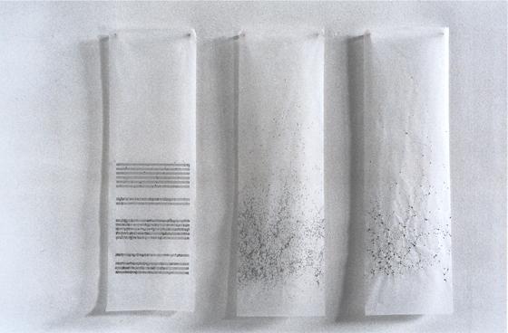 tusche auf transparentpapier und holz, 100/ 33/ 3 cm, 2001