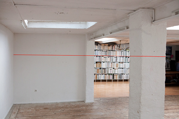 jin-kyoung huh, wall of books with orange lines