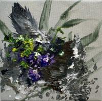 Sei wie das Veilchen im Moose, Oil/Canvas, 25x25cm -