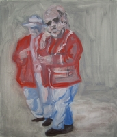 Two figures in red and blue